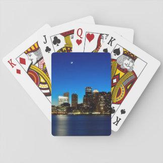 Horizonte de Boston con la luna Cartas De Póquer