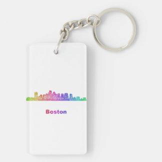 Horizonte de Boston del arco iris Llavero Rectangular Acrílico A Doble Cara