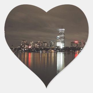 Horizonte de Boston en la noche Pegatina En Forma De Corazón