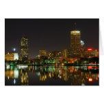 Horizonte de Boston en la noche Tarjeta De Felicitación