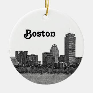 Horizonte de Boston grabado al agua fuerte Adorno Navideño Redondo De Cerámica