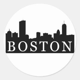Horizonte de Boston Pegatina Redonda