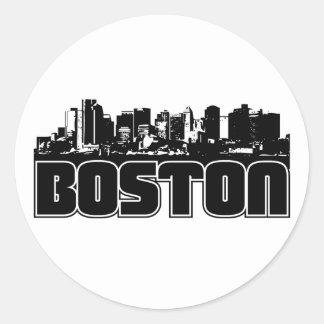 Horizonte de Boston Pegatinas Redondas