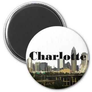 Horizonte de Charlotte NC con Charlotte en el ciel Imán Redondo 5 Cm