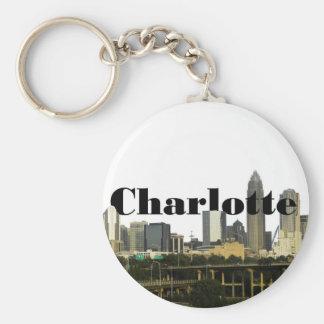 Horizonte de Charlotte NC con Charlotte en el ciel Llavero Redondo Tipo Pin