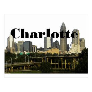 Horizonte de Charlotte NC con Charlotte en el Tarjeta Postal