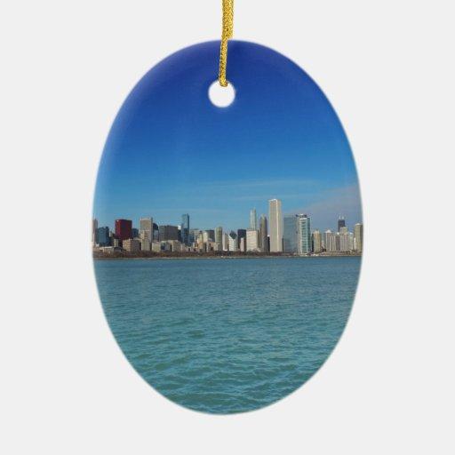 Horizonte de Chicago Adorno Ovalado De Cerámica