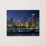Horizonte de Chicago céntrica en la noche Puzzle Con Fotos