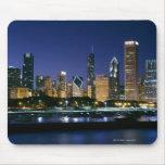 Horizonte de Chicago céntrica en la noche Alfombrilla De Ratones
