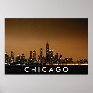 Horizonte de Chicago - centro de Juan Hancock Poster