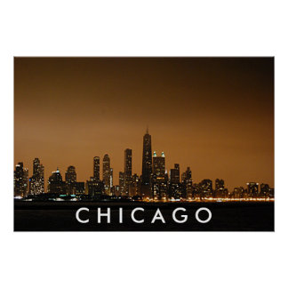 Horizonte de Chicago - centro de Juan Hancock Póster