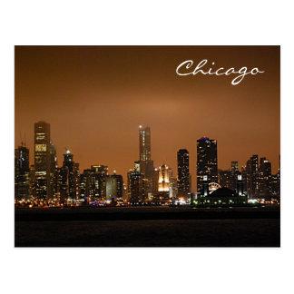 Horizonte de Chicago como visible del lago Tarjeta Postal