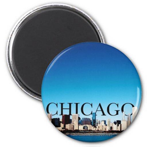 Horizonte de Chicago con CHICAGO en el cielo Iman Para Frigorífico