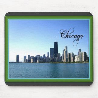 Horizonte de Chicago con la frontera verde clásica Mousepad