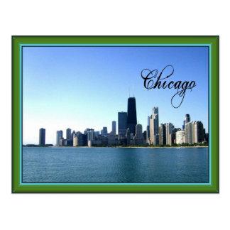 Horizonte de Chicago con la frontera verde clásica Postales