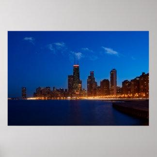 Horizonte de Chicago de la playa del norte de la a Póster