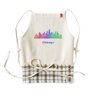 Horizonte de Chicago del arco iris Delantal Zazzle HEART