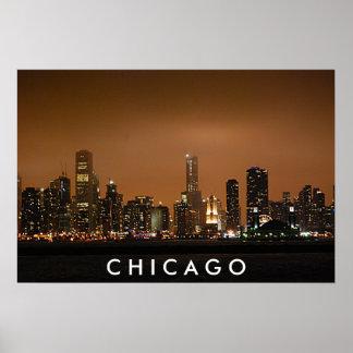 Horizonte de Chicago - embarcadero de la marina de Poster