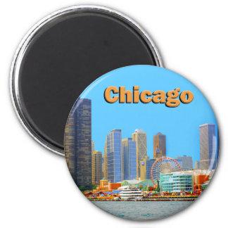 Horizonte de Chicago en el embarcadero de la marin Imán Redondo 5 Cm
