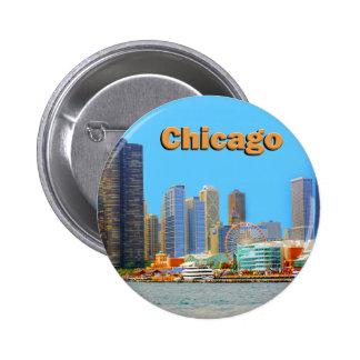 Horizonte de Chicago en el embarcadero de la Pin Redondo De 2 Pulgadas