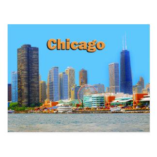 Horizonte de Chicago en el embarcadero de la Postales