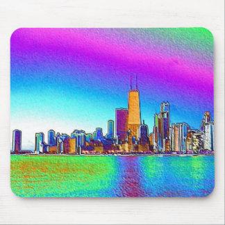 Horizonte de Chicago en hoja coloreada Tapetes De Raton