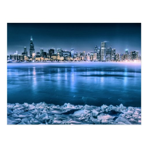 Horizonte de Chicago en invierno Postal