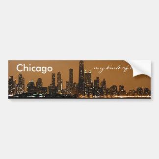 Horizonte de Chicago en la noche en el centro de J Pegatina Para Auto