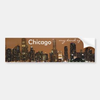 Horizonte de Chicago en la noche en el embarcadero Pegatina Para Auto