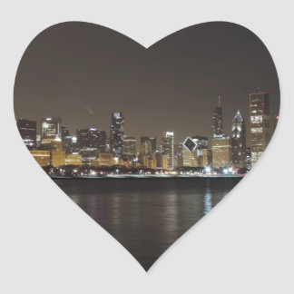 Horizonte de Chicago en la noche Pegatina En Forma De Corazón