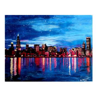 Horizonte de Chicago en la noche Tarjetas Postales