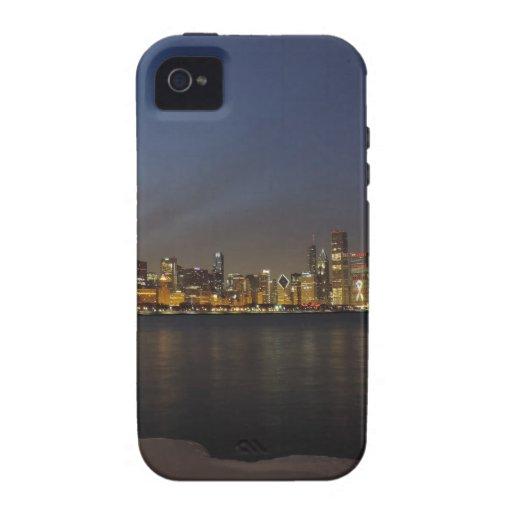 Horizonte de Chicago en la oscuridad iPhone 4/4S Carcasas