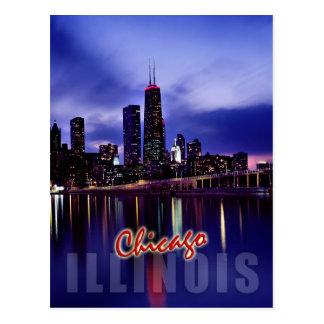 Horizonte de Chicago en la oscuridad Postales