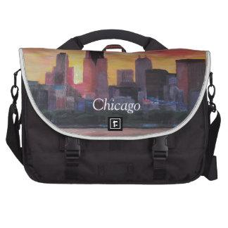 Horizonte de Chicago en la puesta del sol Bolsas Para Portátil