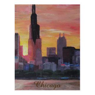 Horizonte de Chicago en la puesta del sol Postales