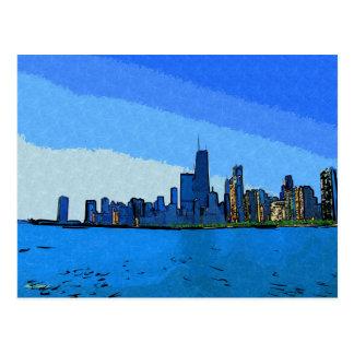Horizonte de Chicago en pintura del collage Tarjetas Postales