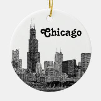 Horizonte de Chicago grabado al agua fuerte Adorno Navideño Redondo De Cerámica