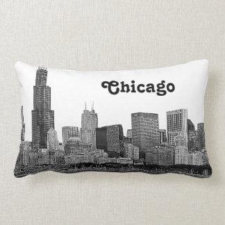 Horizonte de Chicago grabado al agua fuerte Cojín
