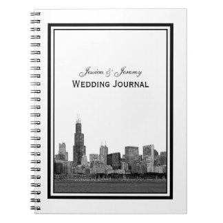 Horizonte de Chicago grabado al agua fuerte Cuaderno