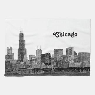 Horizonte de Chicago grabado al agua fuerte Toallas De Mano