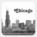 Horizonte de Chicago grabado al agua fuerte Colcomanias Cuadradas Personalizadas
