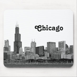 Horizonte de Chicago grabado al agua fuerte Alfombrilla De Ratón