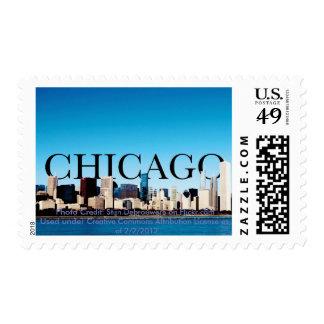 Horizonte de Chicago Illinois con Chicago en el Sellos