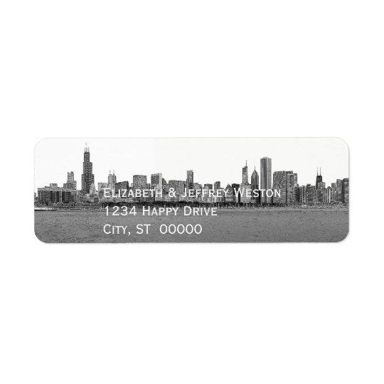 Horizonte de Chicago Illinois Etiqueta De Remite
