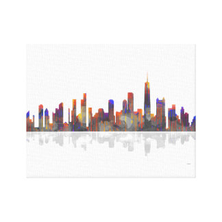 Horizonte de Chicago Illinois Impresion En Lona