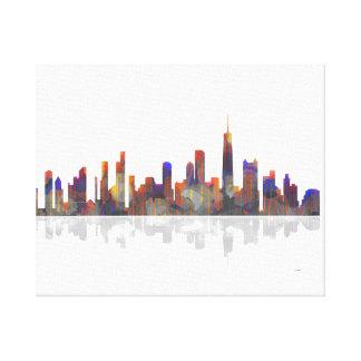 Horizonte de Chicago Illinois Impresión En Lona Estirada