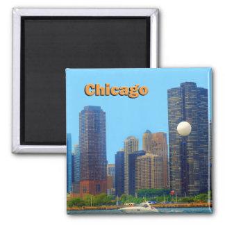 Horizonte de Chicago Imán Cuadrado