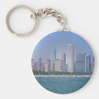 Horizonte de Chicago Llavero Redondo Tipo Pin