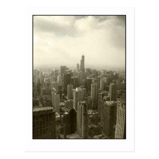 Horizonte de Chicago mono Tarjetas Postales