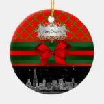 Horizonte de Chicago, Navidad verde roja de Adorno Redondo De Cerámica